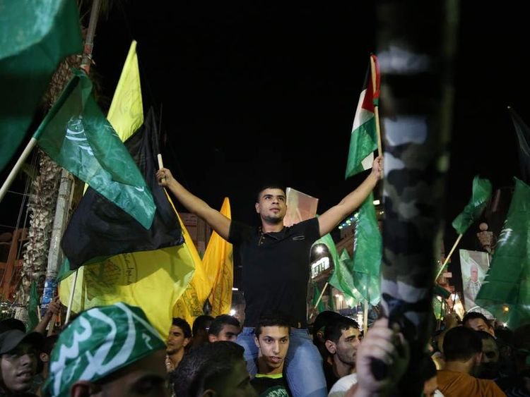 Palestinians in Ramallah celebrate truce with Israel
