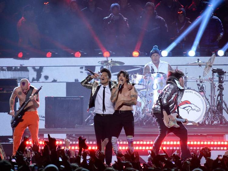 Bruno Mars and Red Hot Chili Peppers at Super Bowl show