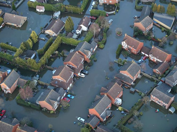 Aerial Views Over The River Thames Show Extent Of The Flooding