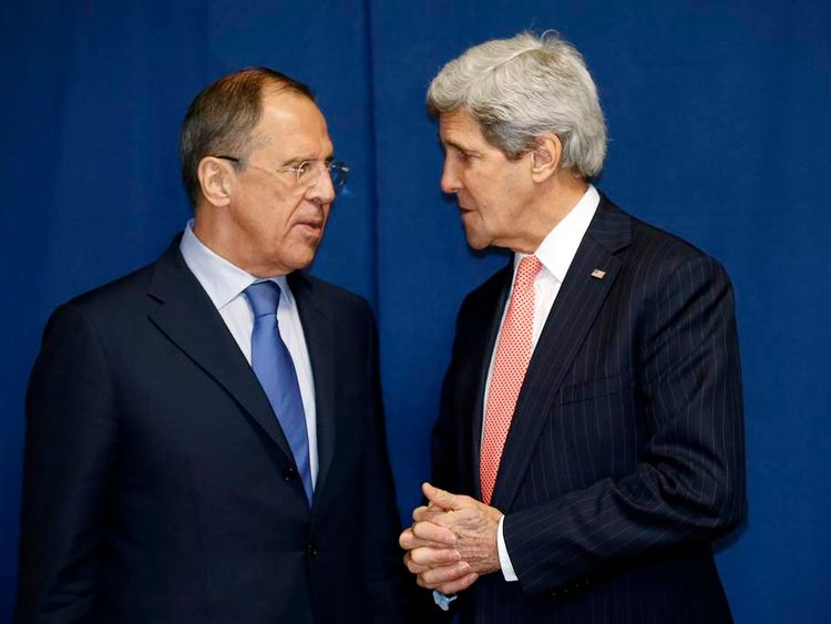 US Secretary of State John Kerry meets Russia's Foreign Minister Sergei Lavrov in Rome.