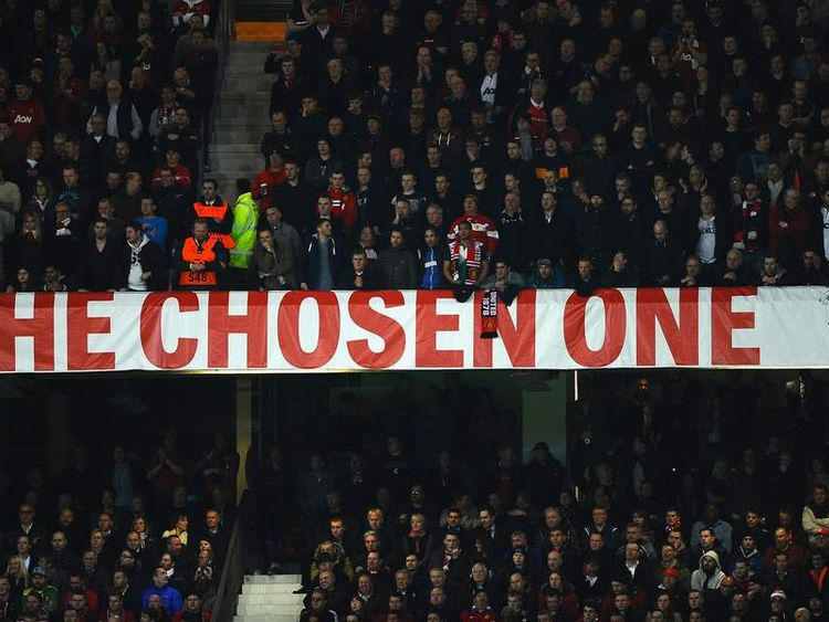 The Chosen One banner - a reference to David Moyes being chosen by Sir Alex Ferguson as his successor at Old Trafford.