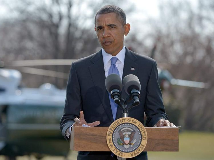 US President Barack Obama speaks on the situation in Ukraine on the South Lawn of the White House