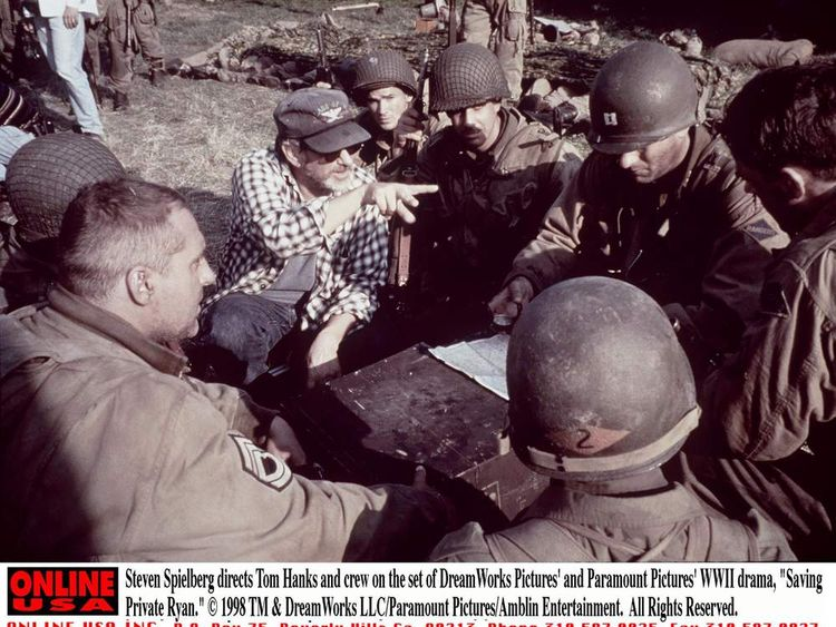 Steven Spielberg directs Tom Hanks on the set of Saving Private Ryan