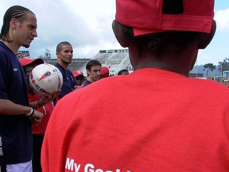Rio Ferdinand, David James, Gary Neville in Malawi in 2005.