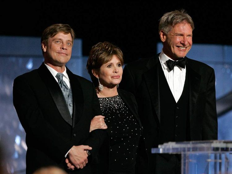 Actors Mark Hamill, Carrie Fisher and Harrison Ford