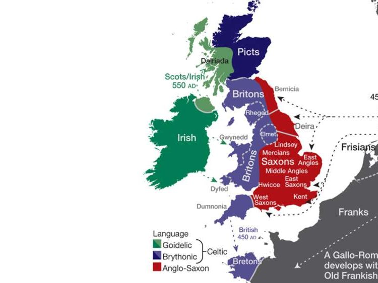 A map showing the influences of different language groups on the UK