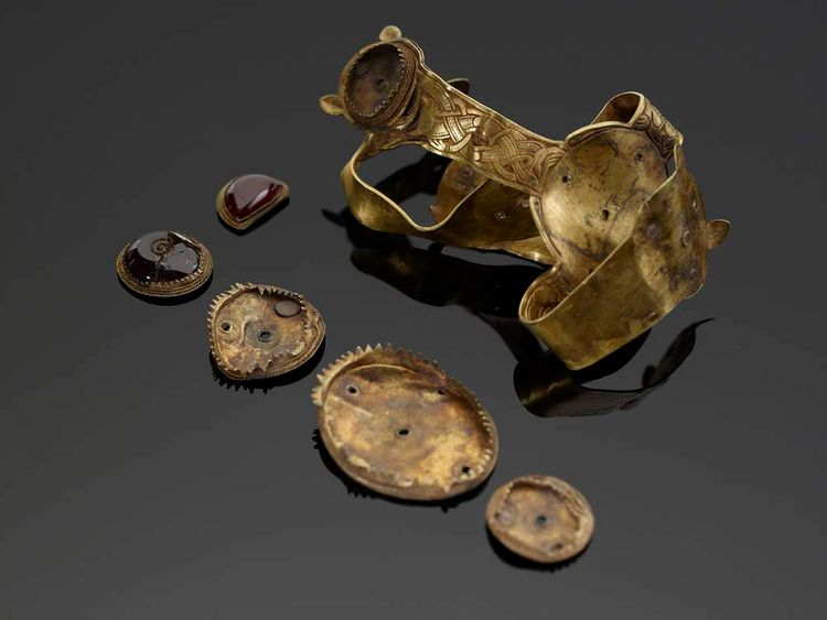 Items from the Staffordshire Hoard, the UK's largest collection of treasure.