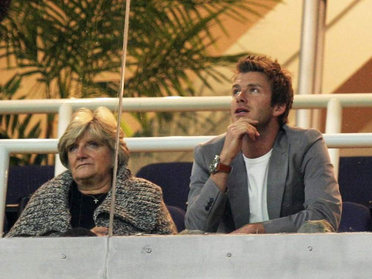 David Beckham and mother Sandra in 2007