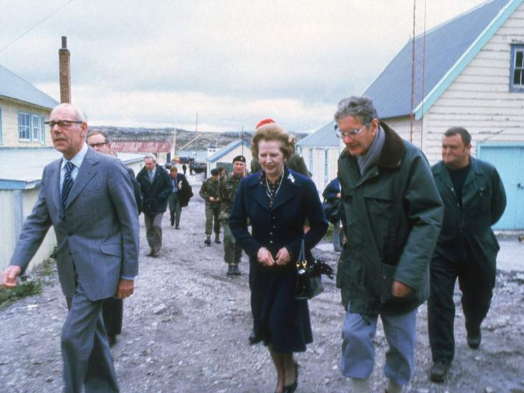 Margaret Thatcher In Stanley in 1983