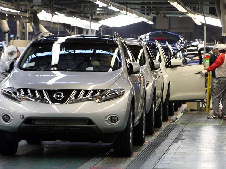 Cars line up at Nissan Motor Company's Kyushu Plant in Japan