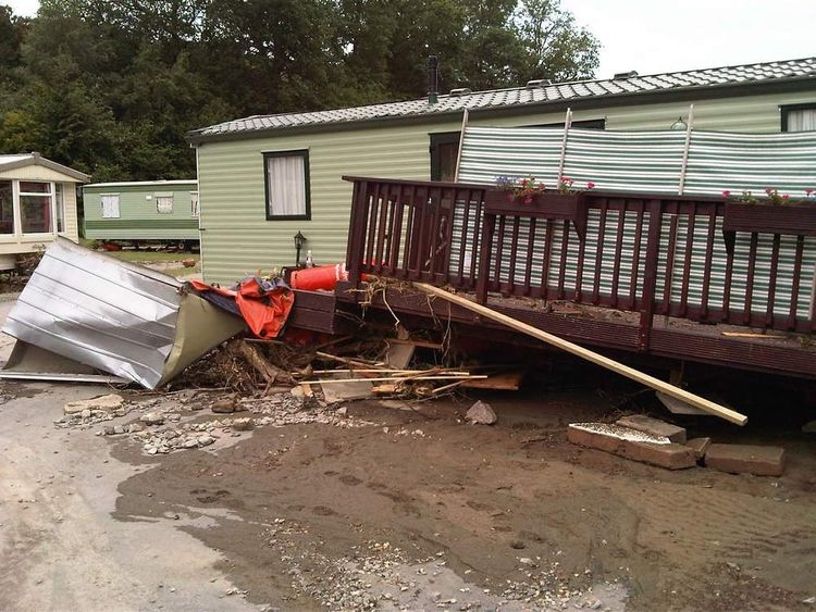 Flash flooding at Riverside caravan park in west Wales