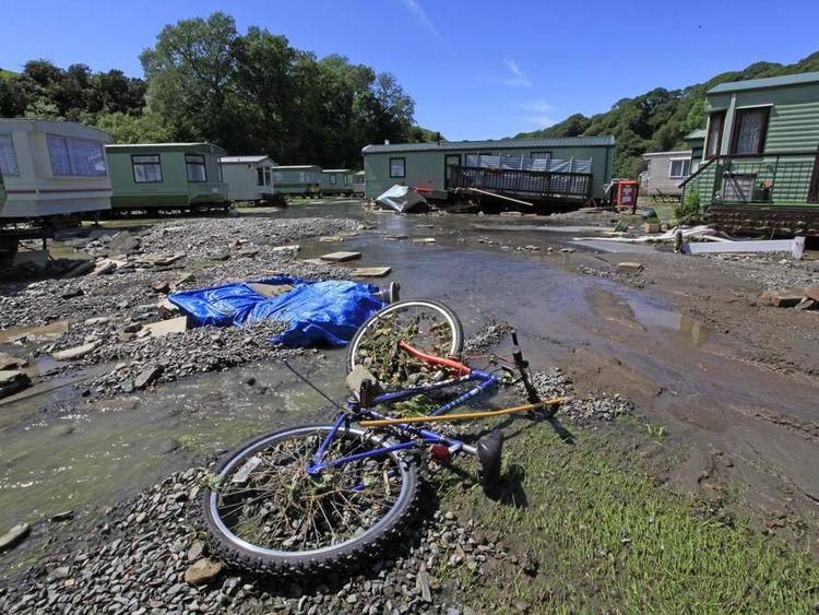 The aftermath at the Riverside caravan park near Llandre