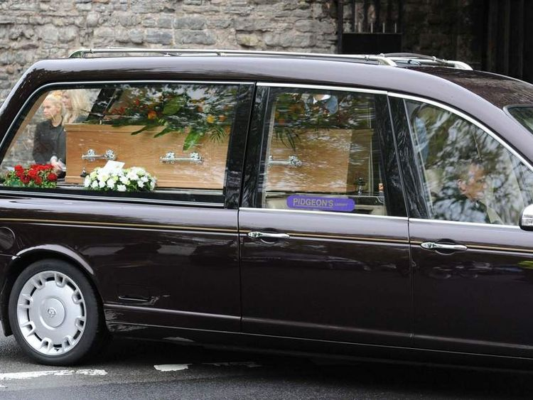 Hearse carrying the coffin of Tom Maynard