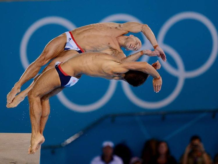 Great Britain's Tom Daley and Peter Waterfield (top) during the Men's Synchronised 10m Platform Final during day three of the 2012 Olympic Games at the Aquatics Centre, Olympic Park, London.