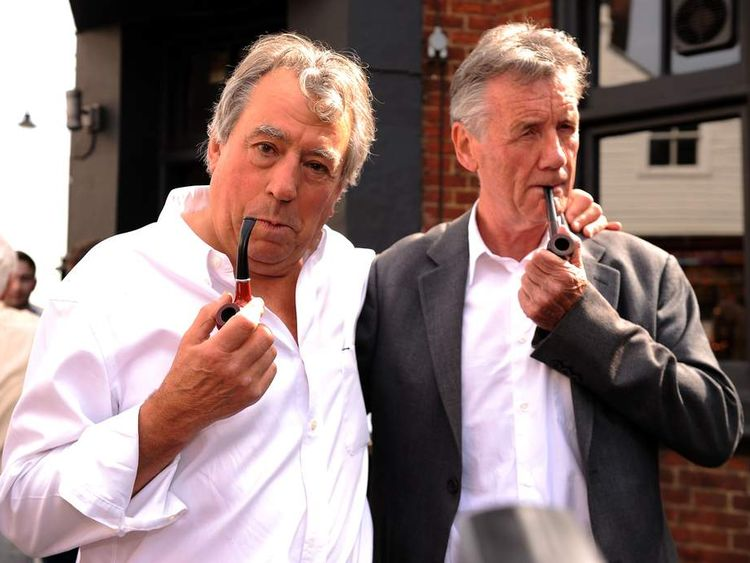 Terry Jones and Michael Palin at the unveiling of a blue plaque for fellow Python Graham Chapman