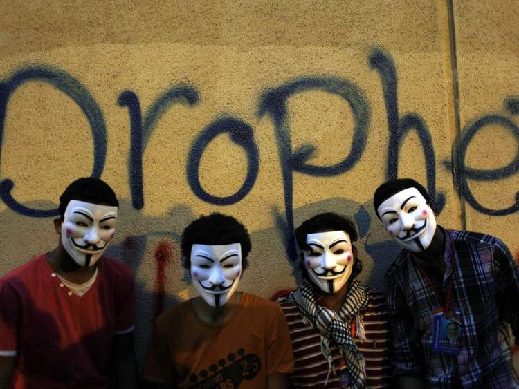 Egyptian Protesters Wear Guy Fawkes Masks