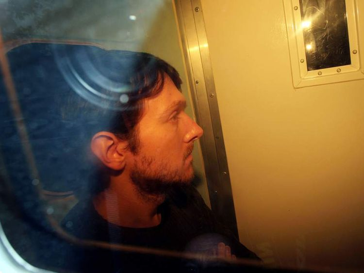 Jeremy Forrest as seen in a prison van as he arrives at Eastbourne Magistrates Court in Eastbourne, East Sussex, to face charges of child abduction.