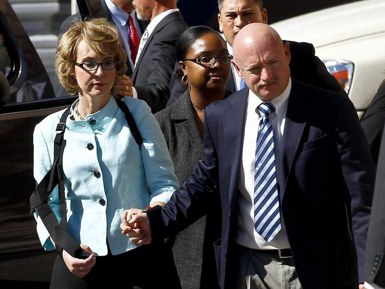 Gabrielle Giffords and husband Mark Kelly at Loughner sentencing