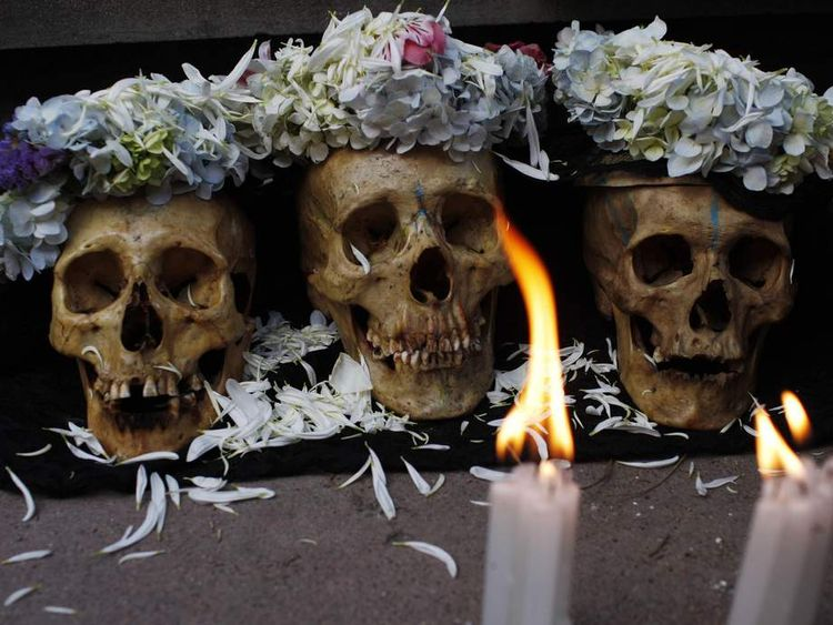 Decorated skulls are seen during a 'Day of the Skulls' ceremony