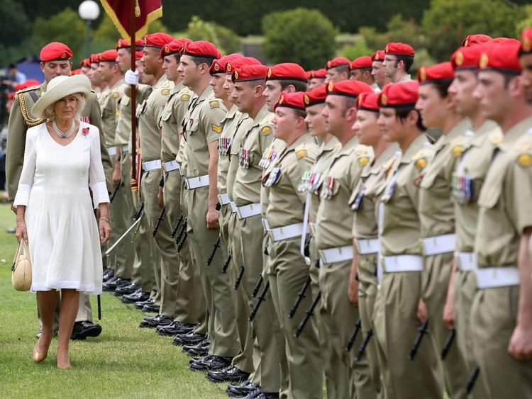 The Duchess of Cornwall inspects a guard of honour by the Royal Australian Corps of Military Police.