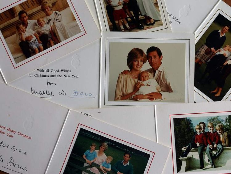 A set of Christmas cards sent by Prince Charles and Diana which are being auctioned