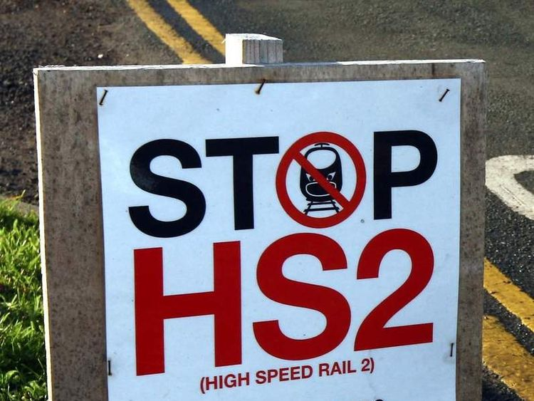 Campaign banner against HS2 high-speed rail link