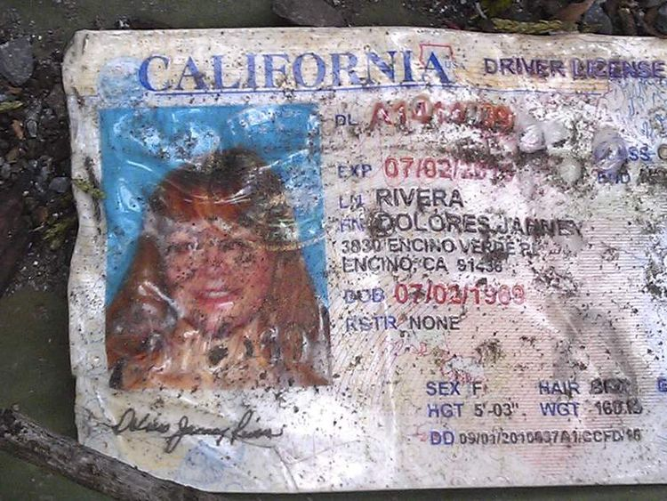 Jenni Rivera's driving licence found at the crash site where a plane allegedly carrying Rivera crashed near Iturbide, Mexico