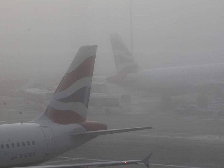 British Airways planes wait to depart from Terminal 5 at Heathrow, London