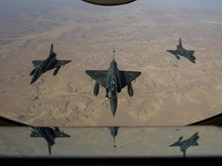 Mirage 2000 D aircraft en route to the French military base in N'Djamena, Chad