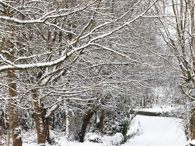 People walk in the snow in Langley Cheshire