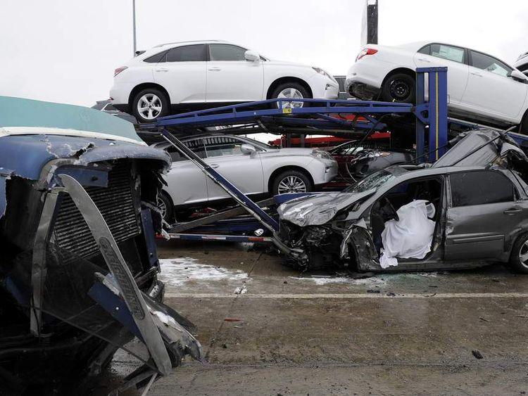 Dozens of cars were involved