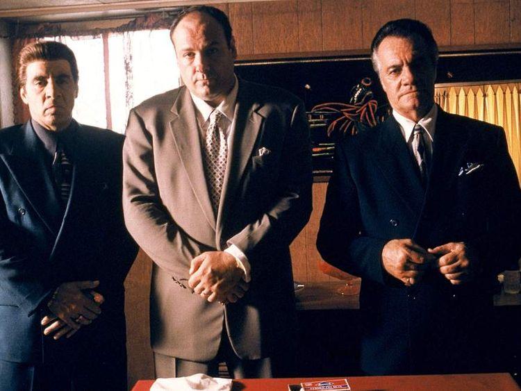 Steven Van Zandt as Silvio Dante, James Gandolfini as Tony Soprano and Tony Sirico as Paulie Walnuts in The Sopranos. Pic: HBO