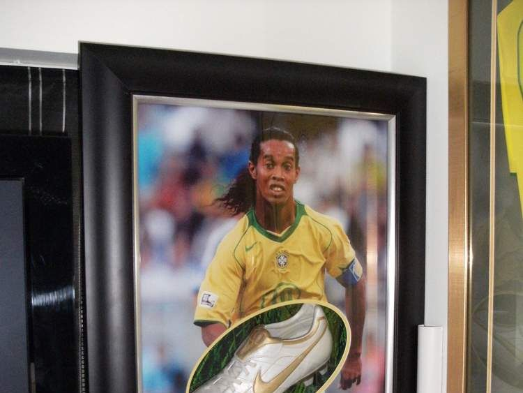 Some of the sports memorabilia purchase by Kevin Pomeroy and his wife Julie