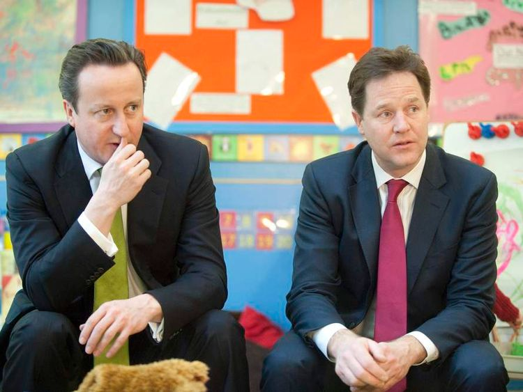 David Cameron and Nick Clegg at a nursery
