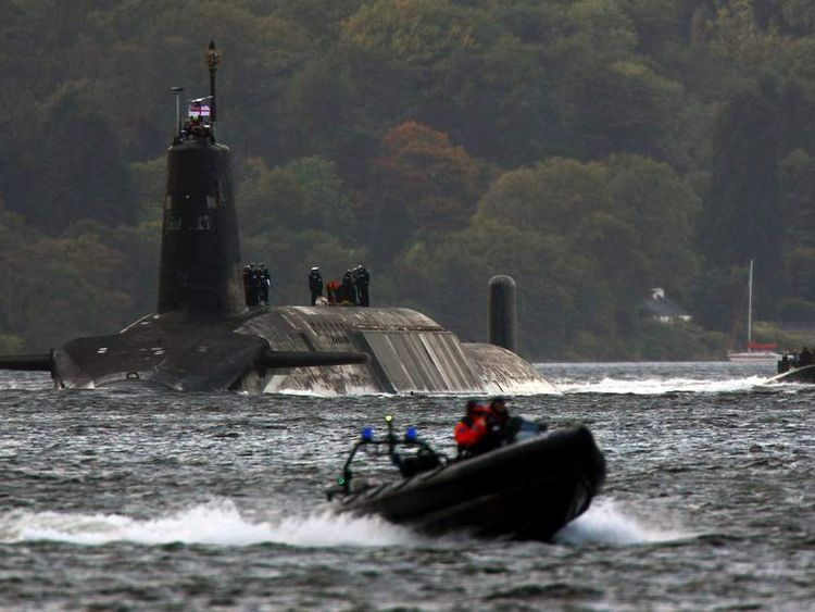 A Trident submarine leaving Faslane naval base