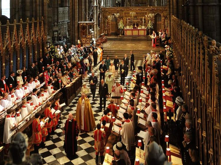 The Queen arrives at her coronation anniversary service at Westminster Abbey