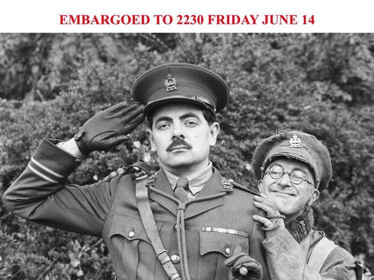 Rowan Atkinson as Captain Edmund Blackadder with Tony Robinson as Private Baldrick.