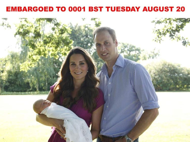 Prince George of Cambridge with Kate and William