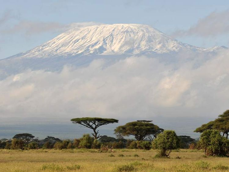 Fresh snow covers Mount Kilimanjaro