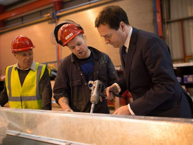 George Osborne at a vehicle manufacturers in Cheshire
