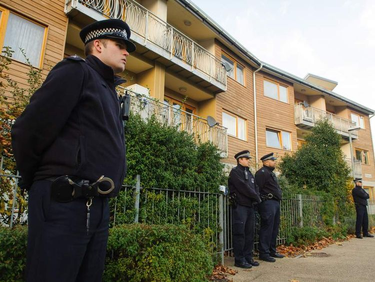 Police in Peckford Place, Brixton, south London, where three women were allegedly held as slaves
