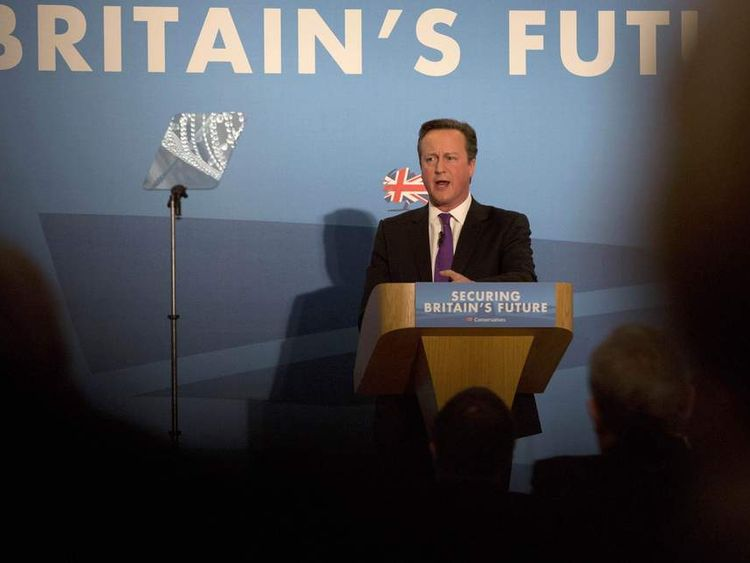 David Cameron addresses delegates at the Conservative Party Spring Forum