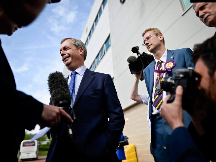 Ukip leader Nigel Farage speaks to the media outside the Liberty Stadium, Swansea.