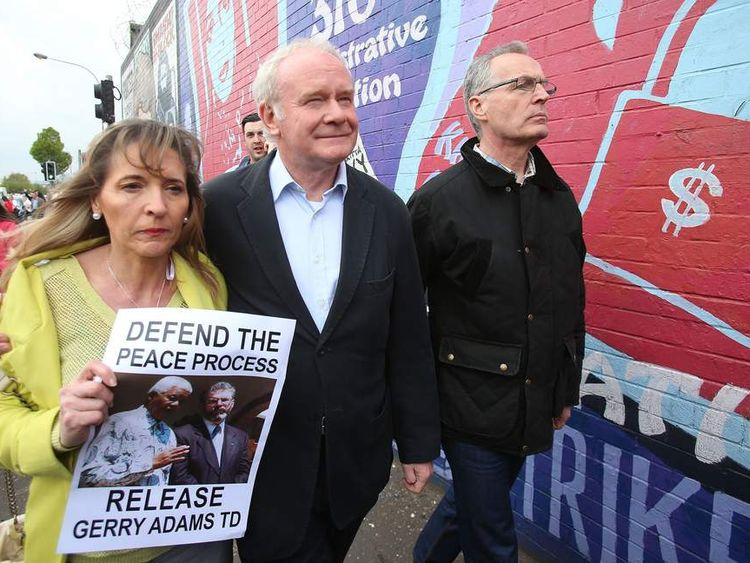 Martin McGuinness at unveiling of Gerry Adams mural