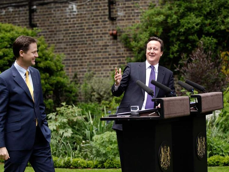 David Cameron and Nick Clegg in the Rose Garden