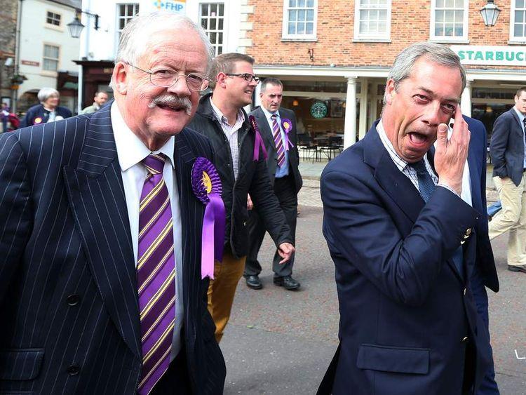 Ukip leader Nigel Farage and Ukip candidate Roger Helme