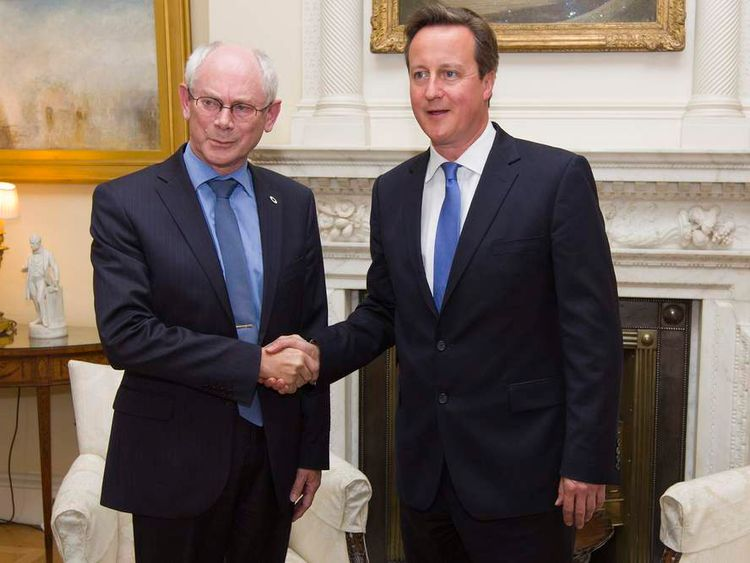 Prime Minister David Cameron (right) greets Herman Van Rompuy, President of the European Council, inside 10 Downing Street
