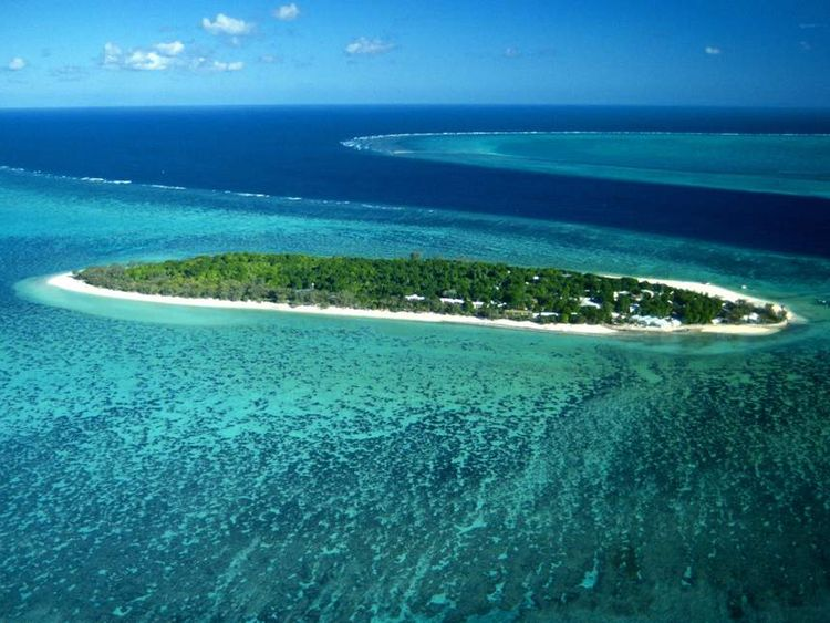 Aerial view of Heron Island and surrounding reefs Great Barrier Reef Queensland Australia