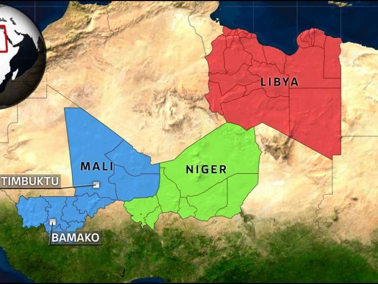 Map of Mali, Niger and Libya