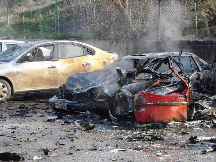 Damaged cars after border explosion